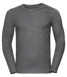 Russell-Mens-long-sleeve-HD-T-167M-grey-marl-front