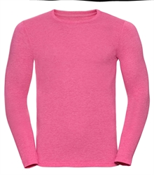 Russell-Mens-long-sleeve-HD-T-167M-pink-marl-front